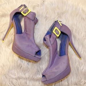 Wild Diva Purple Heal with Neon Green Buckle